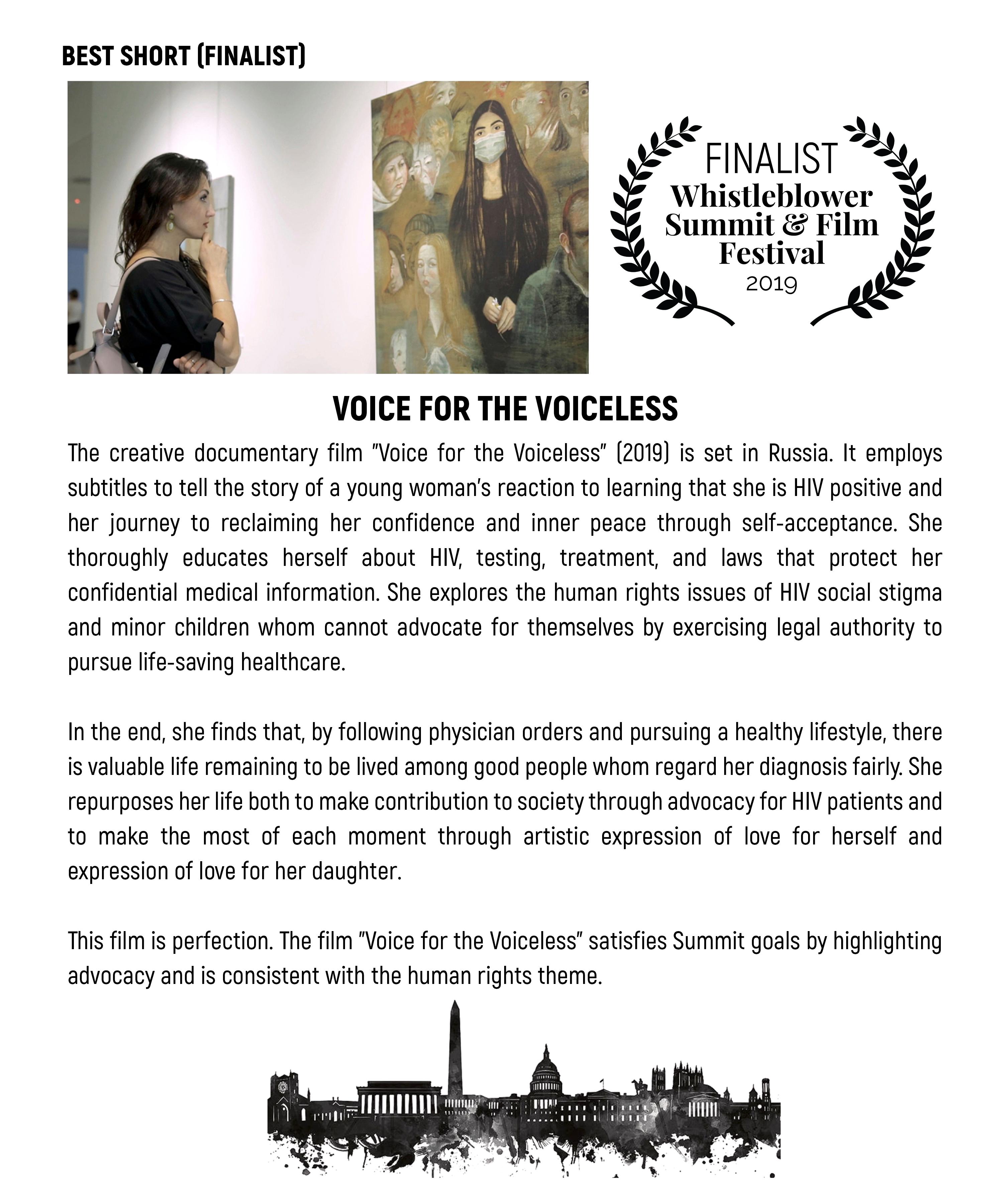 Фильм «Голос за безгласных» (Voice for the Voiceless) стал финалистом Международного кинофестиваля фильмов о правах человека «Whistleblower Summit Film Festival — 2019»