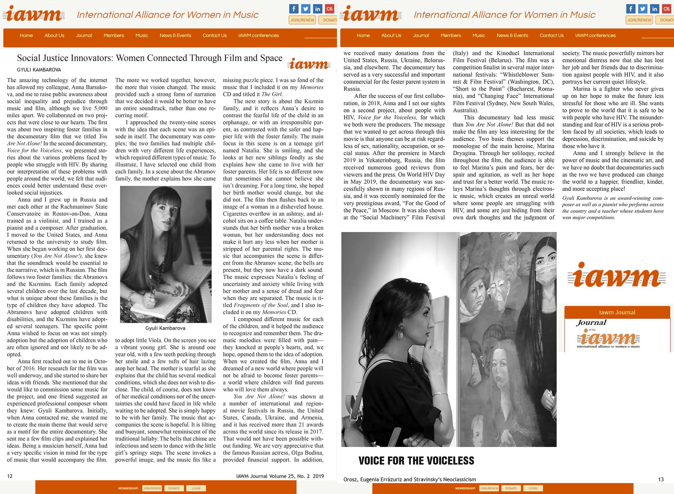 Публикация о нашем композиторе и о фильме в журнале «IAWM» — The International Alliance for Women in Music